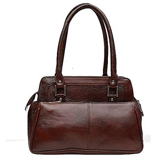 Genuine Leather Stylish Womens Hand Bag (Brown)