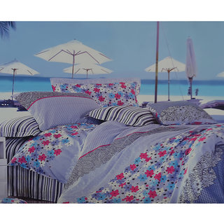 Jagdish Store Multicolor Cotton Double Bed Sheet with 2 Pillow Covers