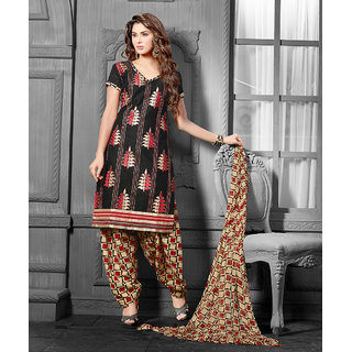 Urishilla Black and Red Embroidered Suit Dress Material (Unstitched)