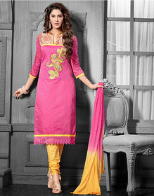 Urishilla Pink and Yellow Embroidered Party Wear Suit Dress Material (Unstitched)