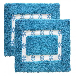 Azaani beautiful non woven set of 2 blue cotton bathmat,