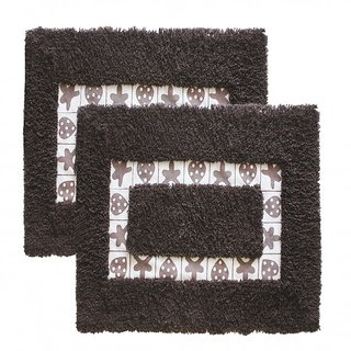 Azaani beautiful non woven set of 2 brown cotton bathmat,