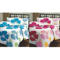 India Get Shopping Beautiful Blue  Pink Flower Prints Reversible Single Bed AC Blanket / Dohar Combo Set Of 2 Pc