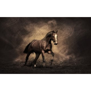 MYIMAGEBrown Horse Running  Poster (Paper Print, 12x18 inch)