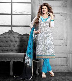 Urishilla White and Blue Embroidered Unstiched Suit (Unstitched)