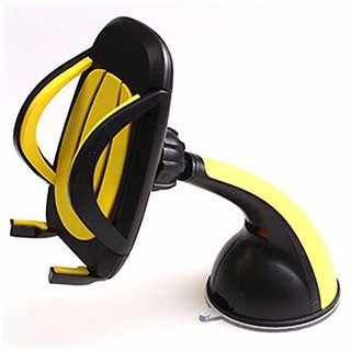 Pegasus Premium Mobile Phone Car Mount Holder Cradle 360 Rotable Holder Secure Cell Phone Stand With Strong Suction Grip for Tata Safari (Yellow)