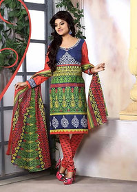 Urishilla Summer Special Pure Cotton Blue  red Printed Suit (Unstitched)