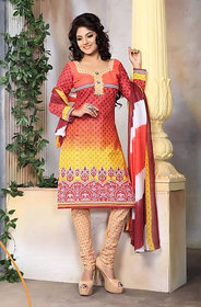 Urishilla Summer Special Pure Cotton Red  Yellow Printed Suit (Unstitched)