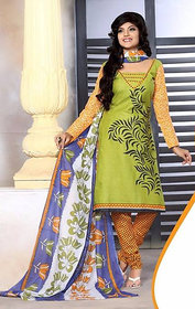 Urishilla Summer Special Pure Cotton Green and Yellow Printed Suit (Unstitched)