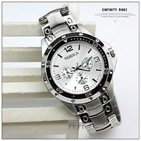 New Rosra Round Dial Silver Strap Mens Watch By Hk collectiontest p