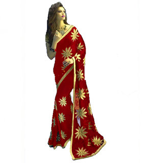 Bhavna creation Red Georgette Embroidered Saree With Blouse