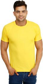 SquareFeet Yellow Polyester Round Neck Tee
