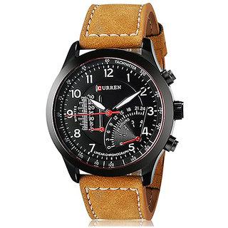 Curren Brown Leather Strap Black Analog Dial Denim Watch Meter Design By Shree Ladi Fashion