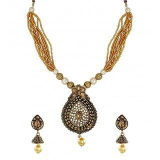 Zaveri Pearls Dark Antique Multi Strands Pearl Drop Necklace Set - ZPFK6109