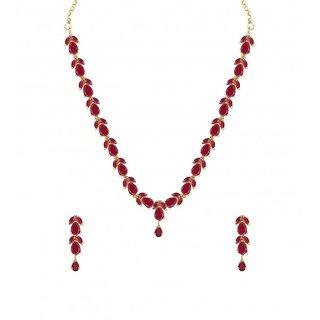 Zaveri Pearls Delicate Ruby Necklace Set - ZPFK6110