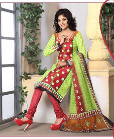Urishilla Summer Special Pure Cotton Green Printed Suit (Unstitched)
