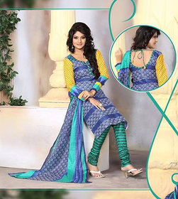 Urishilla Summer Special Pure Cotton Blue Printed Suit (Unstitched)
