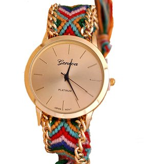Round Dial Blue  Pink Fabric Strap Women Quartz Watch by miss
