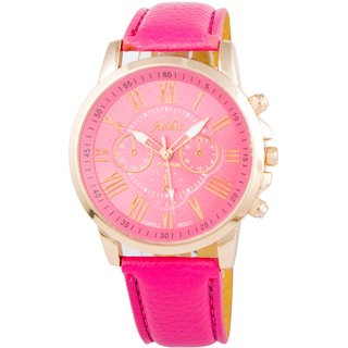 Geneva Solid Bing Rose Goldtone Analog Pink Dial Womens Watch