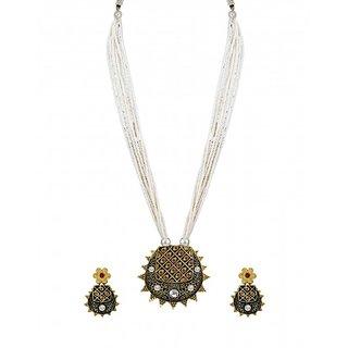 Zaveri Pearls Royal Look Multi Strand Pearl Mala Necklace Set - ZPFK6135