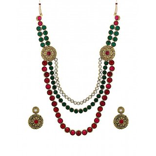 Zaveri Pearls Traditional Multi Starnd Necklace Set - ZPFK6136