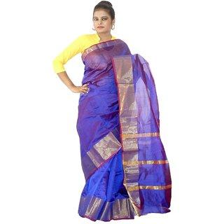 236009ee70 Buy Viukart Self Design Blue Handloom saree Online - Get 40% Off