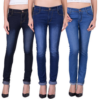 Red Code Men's Slim Fit Jeans For Womens (Pack of 3)