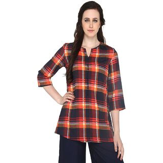 P-Nut Women's Polyester Checkered Casual Top