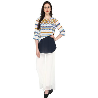 P-Nut Women's Polyester Geometric Print Casual Top