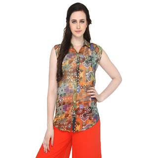 P-Nut Women's Polyester Printed Casual Top