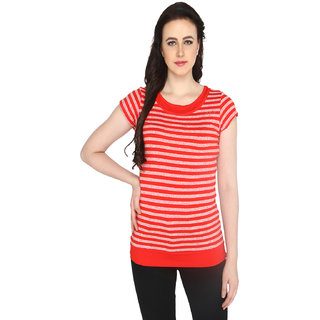 P-Nut Women's Round Neck Striped Casual T-shirt
