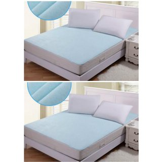 Home Castle 2 PC Non Woven Fabric Waterproof Double Bed Mattress Protector with Elastic Strap (Assorted Color)