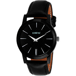 Lorenz 1015A Round Dial Black Synthetic Leather Unisex Watch