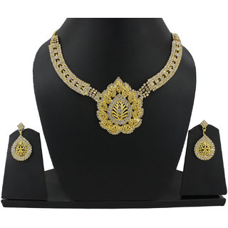 Guarantee Ornament House  Imitation Jewellery Designer Golden Fashion Necklace GOHSET48