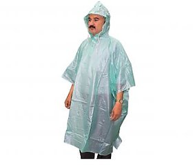 Goodluck PVC Waterproof Rain Ponchos Raincoat Rainwear Hooded Camping (PonchoPistaM)