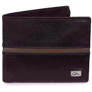 Gentleman Genuine Leather Mens Wallet (Black / Gray) Bi-Fold