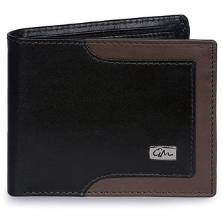 Gentleman Genuine Leather Mens Wallet (Black Brown) Bi-Fold