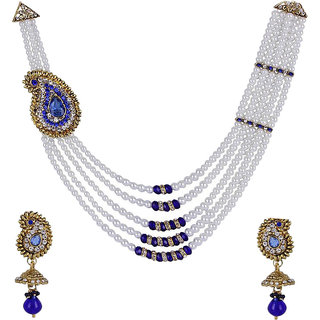 Jewels Gehna Alloy Party Wear Fashion Designer Latest Simple Necklace Set With Earring For Women  Girls