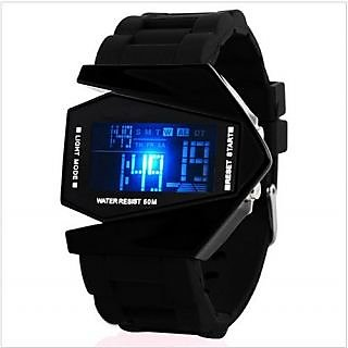 US B-2 Bomber Aircraft LED Black Digital Silicon Watch