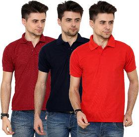 Grand Bear Men's Multicolor Polo Collar T-Shirt (Pack of 3)