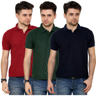 Grand Bear Men's Multicolor Polo Collar T-Shirt (Pack of 3)