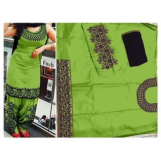 Women Cotton Salwar Suit In Green Color By Poshak Collection