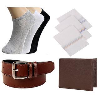 Jack Klein Combo of Pack of 3 Socks, 3 Handkerchiefs , Brown Belt And Wallet