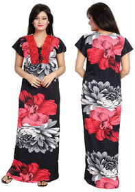 Diljeet Women Red And Black Floral Print Satin Nighty