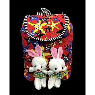 Girls's backpack bunny bag in red color