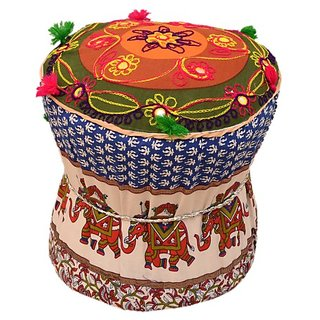 Rangrohi Fabric Standard Ottoman  (Finish Color - multicolor)