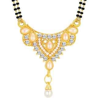 Sikka GoldenSilver Alloy Gold Plated Only Mangalsutra For Women