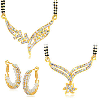 Sikka Jewels Gold Plated Australion Diamond Combo of 1 Pair of Earring 2 Mangalsutra Penda+2 Black Beads Chain For Women