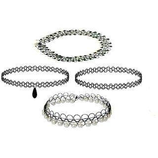 Urbanela Black Choker Necklace for Girls Stylish and Modern Choker Necklace Vintage Free Size (Set of 4)