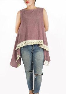 purple chambray cape top